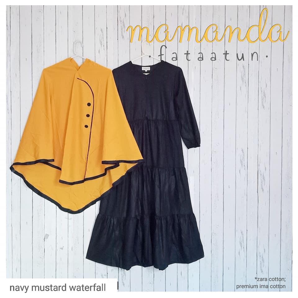 Gamis Remaja/Dewasa Navy Mustard Waterfall by Mamanda