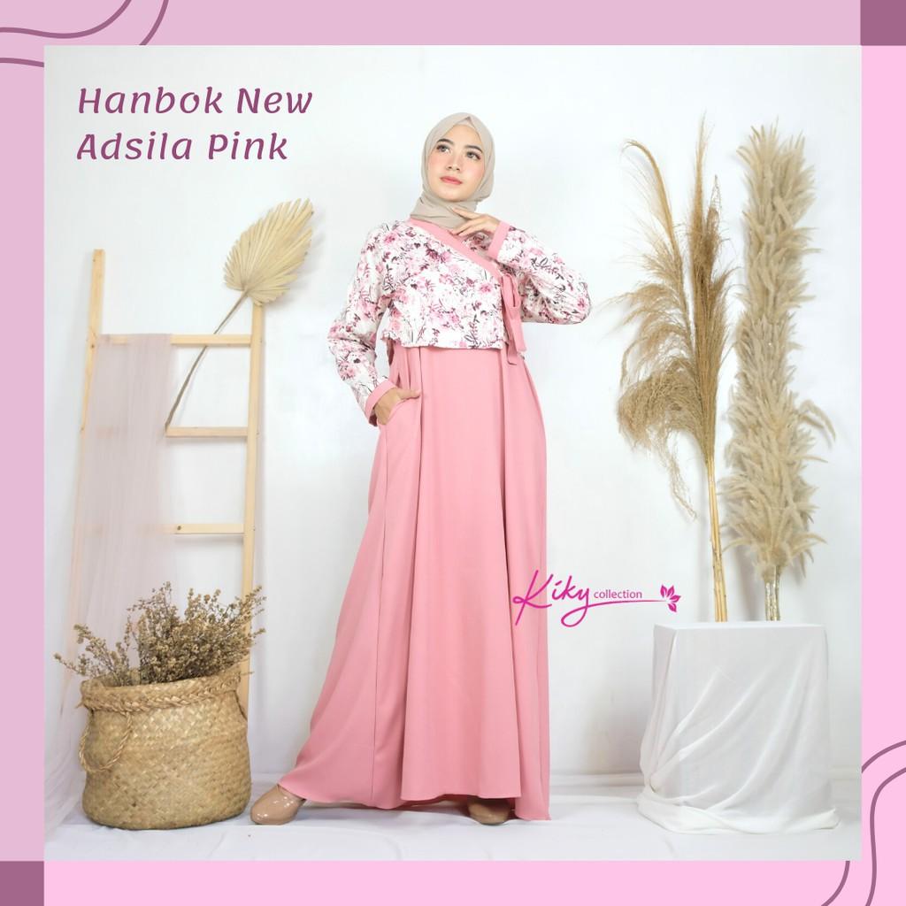Fashion Muslim Kekinian Gamis Ala Korea Cantik Baju Muslim Remaja Hanbok  New Adsila Size XL