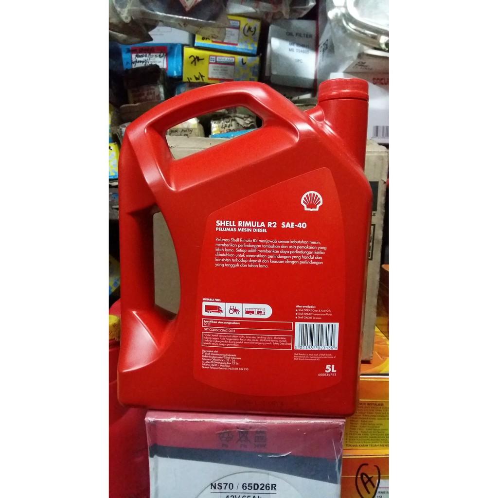 Shell Rimula R2 SAE 40 Oli Mobil Diesel Heavy Duty 5 L Dijamin Asli