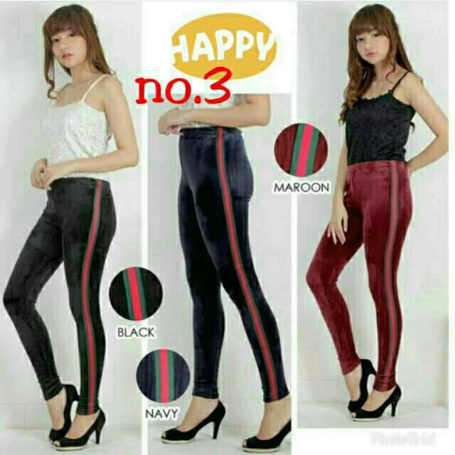 Celana Legging List Bludru Velvet Import Legging Stripe Shopee Indonesia