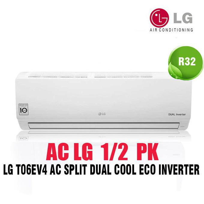Promo Ac Lg 1/2 Pk 1/2Pk Inverter T06Ev4 ( Double Eco Inverter ) Unit Only Ready Stok
