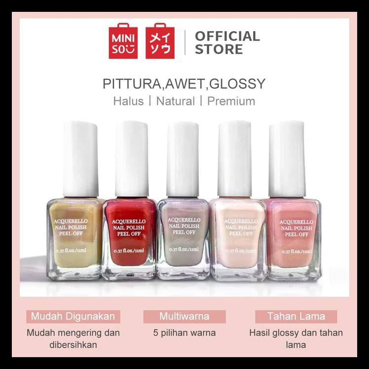 Bisa Cod Miniso Official Acquerello Peel Off Nail Polish Nineteen Limited Edition Kode 208 Shopee Indonesia