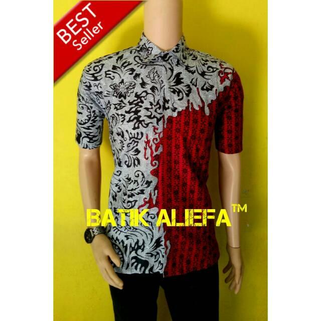 Kemeja Hem Baju Batik Pria Burung Kembar Hitam Putih Fashion Indonesia Masa  Kini  11f9c3600c