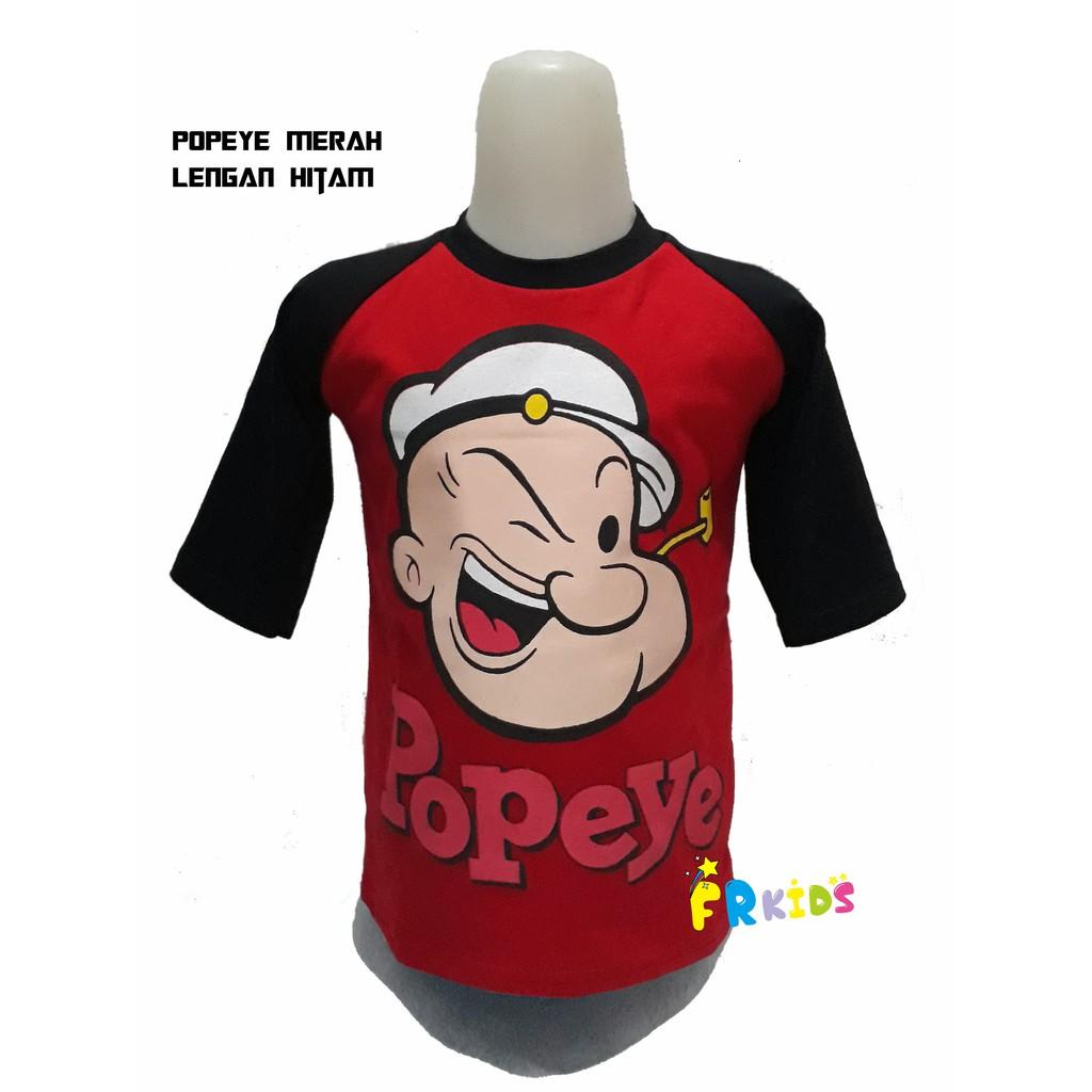 Baju Kaos Popeye Kaos Anak Kaos Raglan Kaos Karakter Kaos Kartun