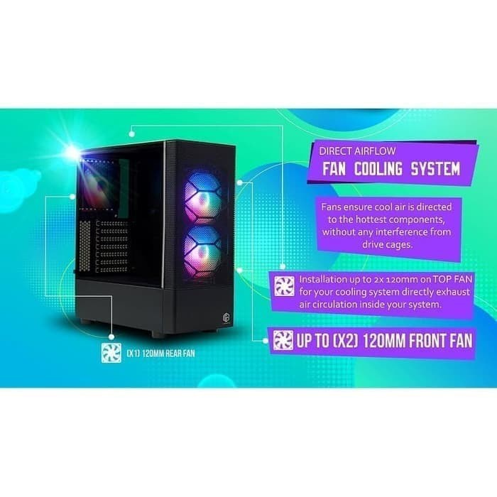 Casing Pc Cube Gaming Karvia Atx Tempered Glass Shopee Indonesia