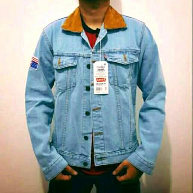 Jaket dilan BENDERA US jeans biru muda telur asin bioblitz Pria kerah saku panjang denim levis cowok | Shopee Indonesia