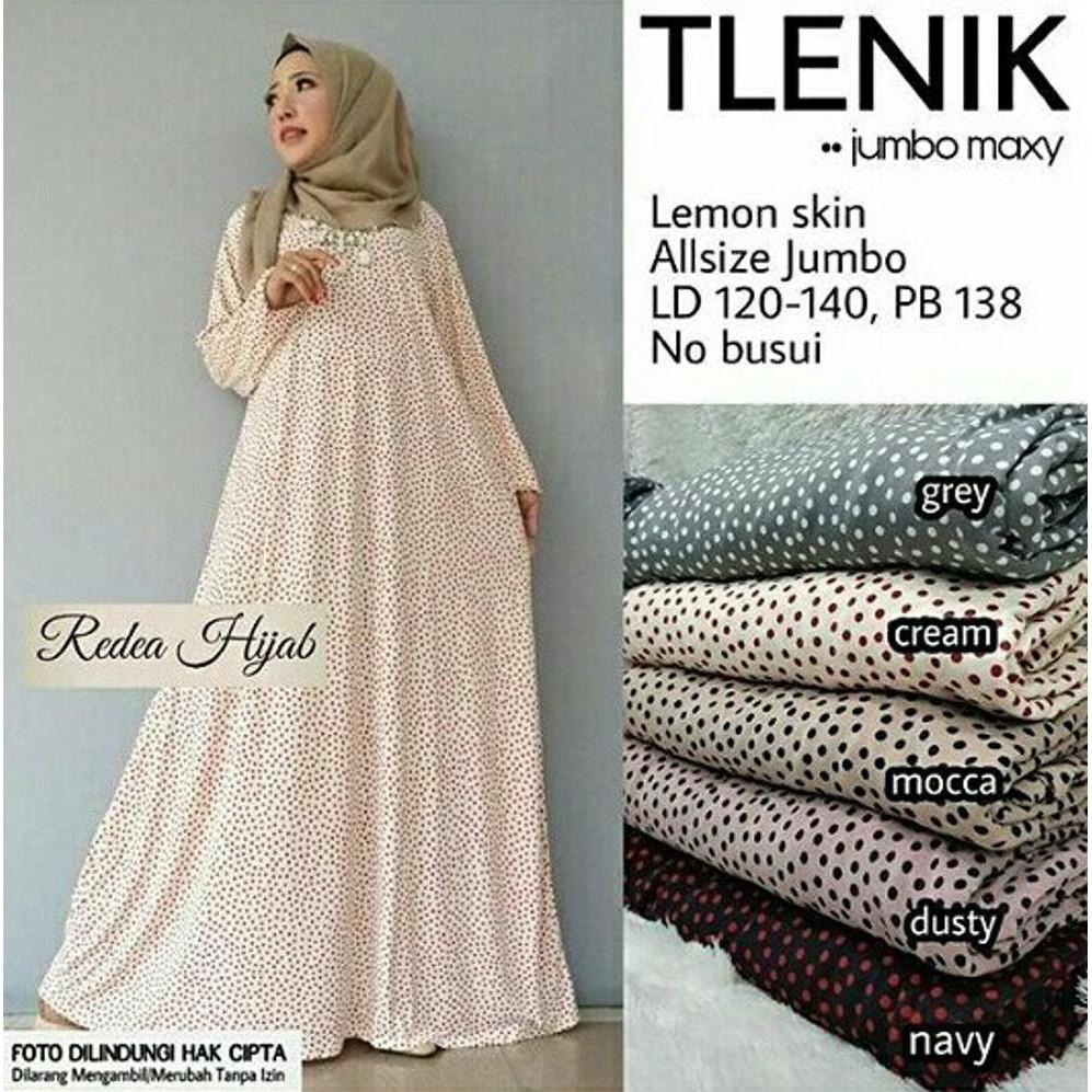 Penawaran Diskon Best Seller Gamis Polka Jumbo Jersey Lemon Tlenik  03 Maxi Dress Muslim Big Size Xxxl Motif