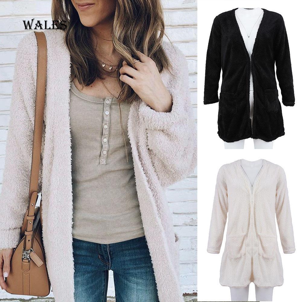 [Bayar di Tempat]Wales&Women Solid Color Long Sleeve Pocket Cardigan Coat Casual Top Casual Outwear
