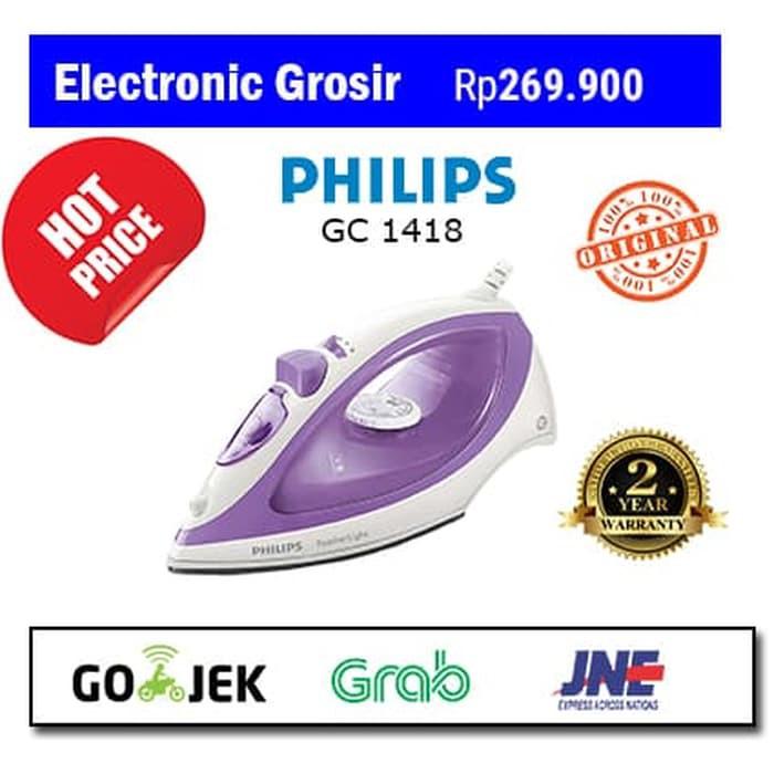 Perlengkapan Rumah / PHILIPS STEAM IRON GC 1418 / SETRIKA UAP GC1418 400 WATT PROMO Model