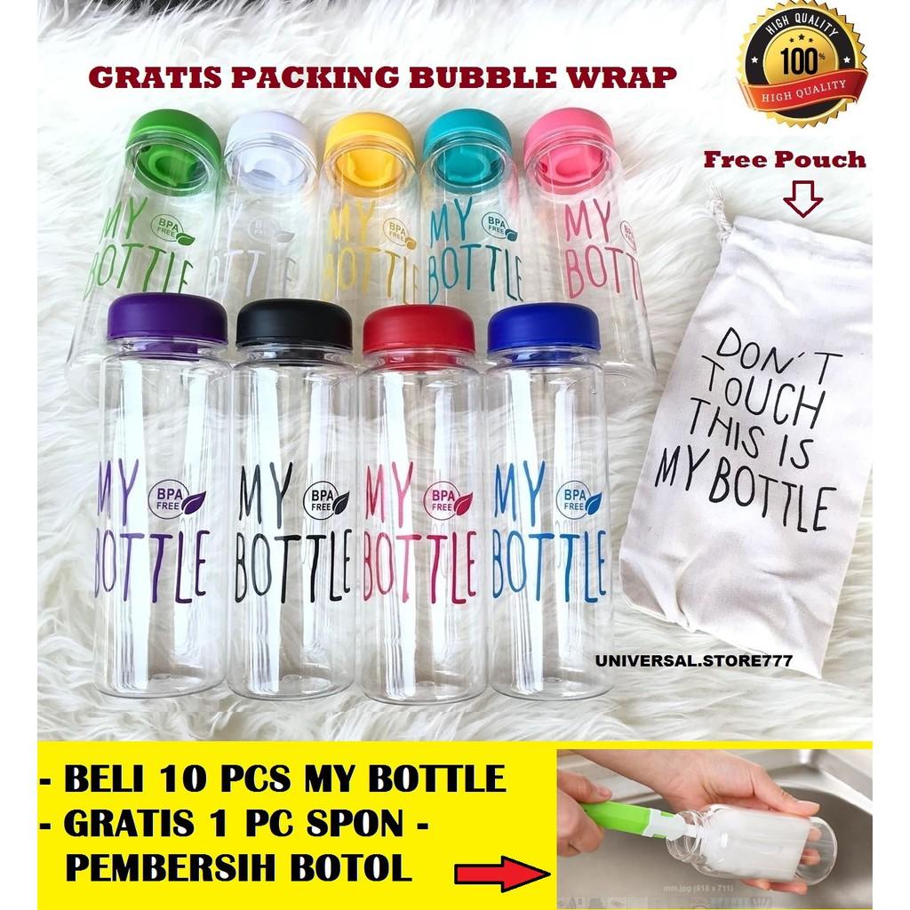 EMYLI MY BOTTLE BOTOL MINUM KACA TRANSPARAN 500 ML KUNING. My Bottle 500 ML Gratis Pouch - My Bottle Bening Logo BPA Free | Shopee Indonesia