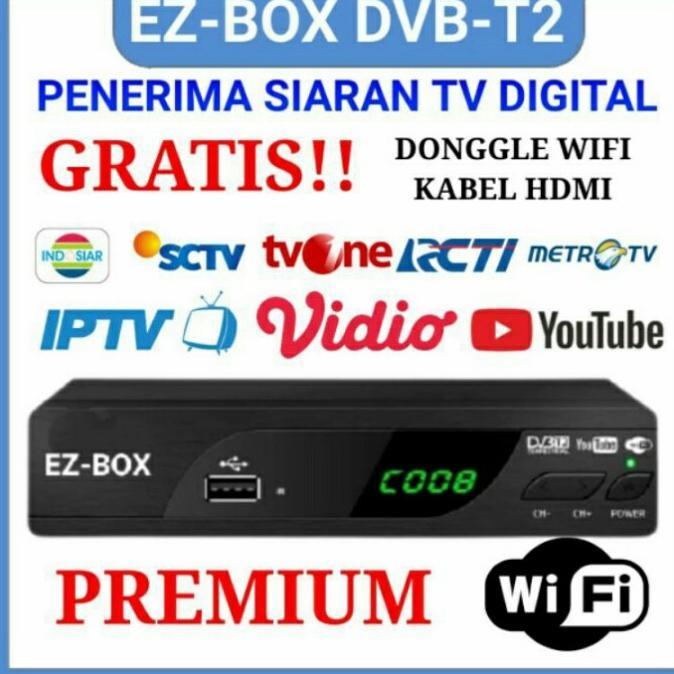 Ez-Box Set Top Box Dvb-T2 Penerima Siaran Televisi Digital - Free Dongle Terlaris