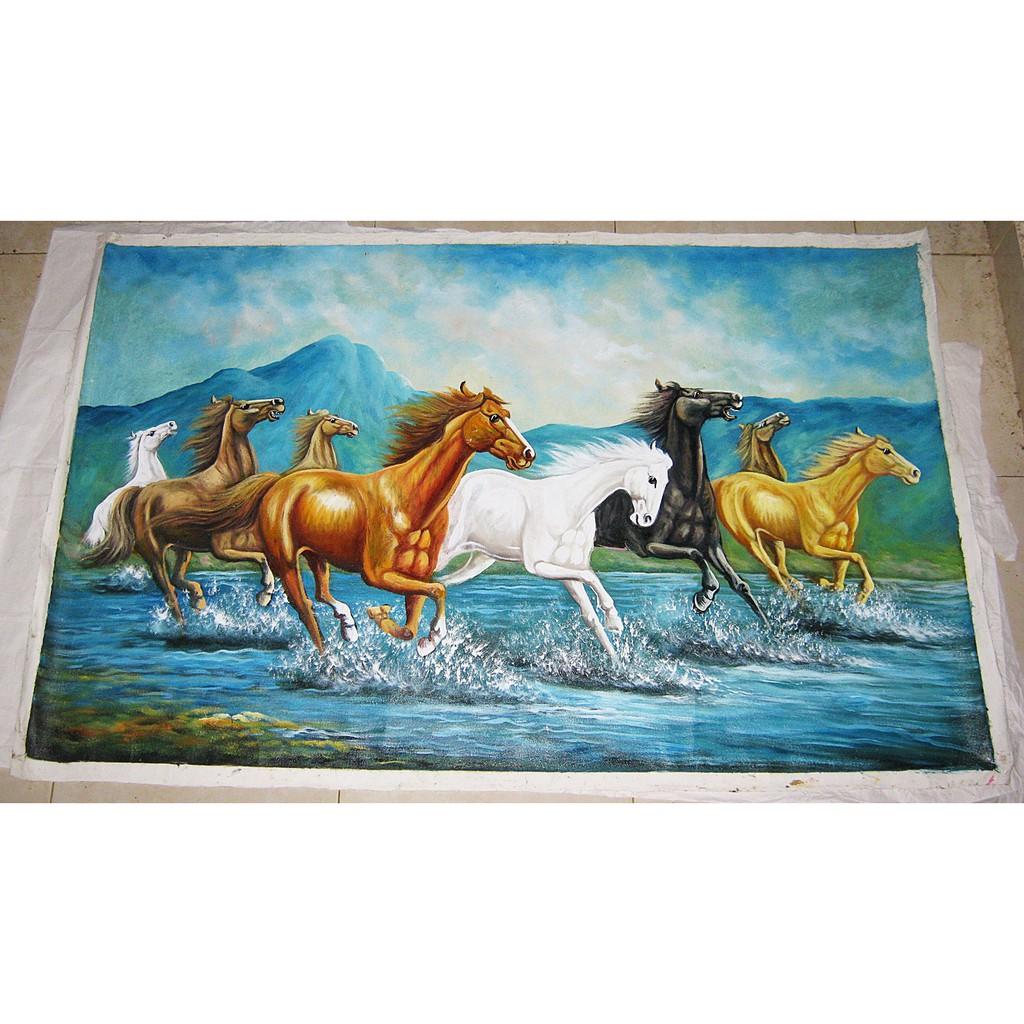 Lukisan 8 Kuda Berlari Nuansa Realis