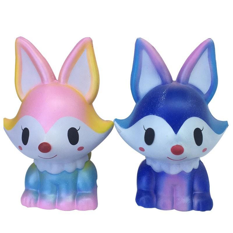 13cm Kawaii Cute Rainbow Fox Squishy Jumbo Cartoon Slow Rising Phone Strap Soft