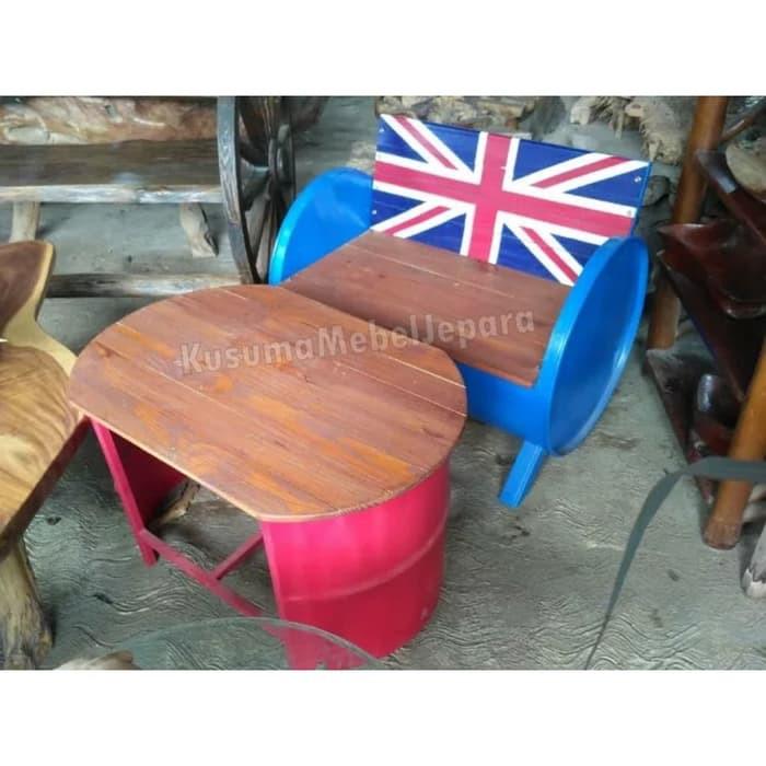 Set Kursi Cafe Drum Vintage Kombinasi Kayu Jati 1 Kursi 1 Meja Shopee Indonesia