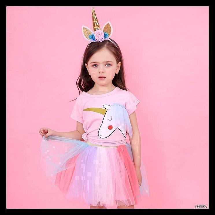 Setelan Anak Perempuan Princess Unicorn Kaos Putri Kartun Kuda Pony M 3 4 Tahun Shopee Indonesia