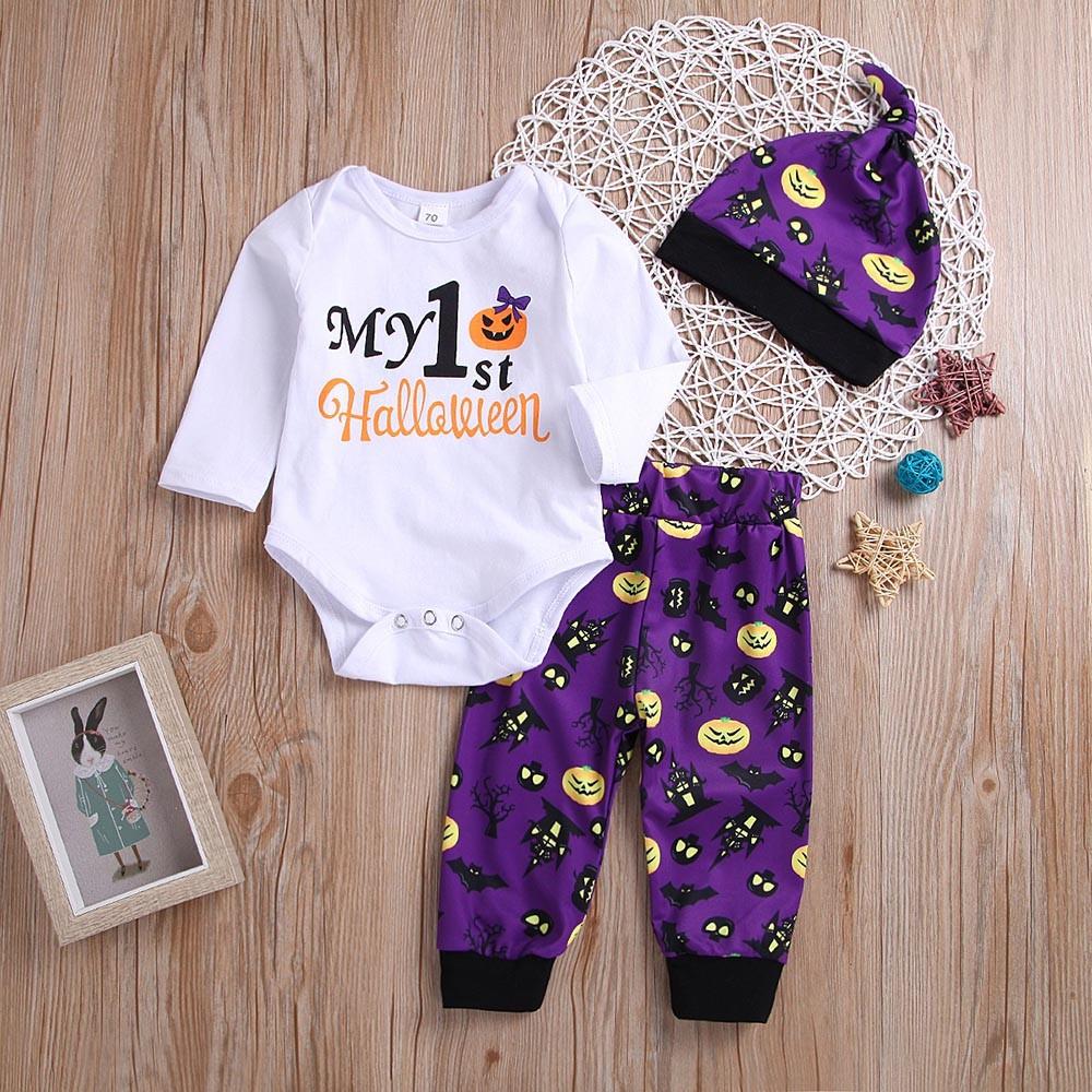 Toddler Baby Kid Girls Halloween Solid Tops+Pumpkin Print Pants+Headband Outfits
