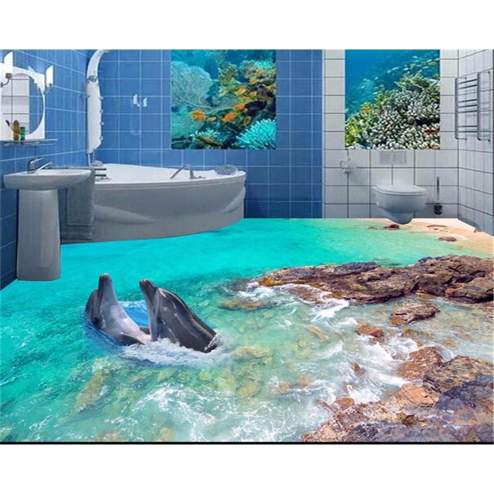 Terbaru Beibehang Kustom 3D Lantai Kertas Dolphin Sea Floor Foto Toilet 3D Wallpaper Lantai Papel