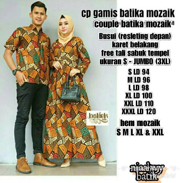 New Couple Gamis Batika Mozaik Bisa Direquest Ukuran S Jumbo 3xl