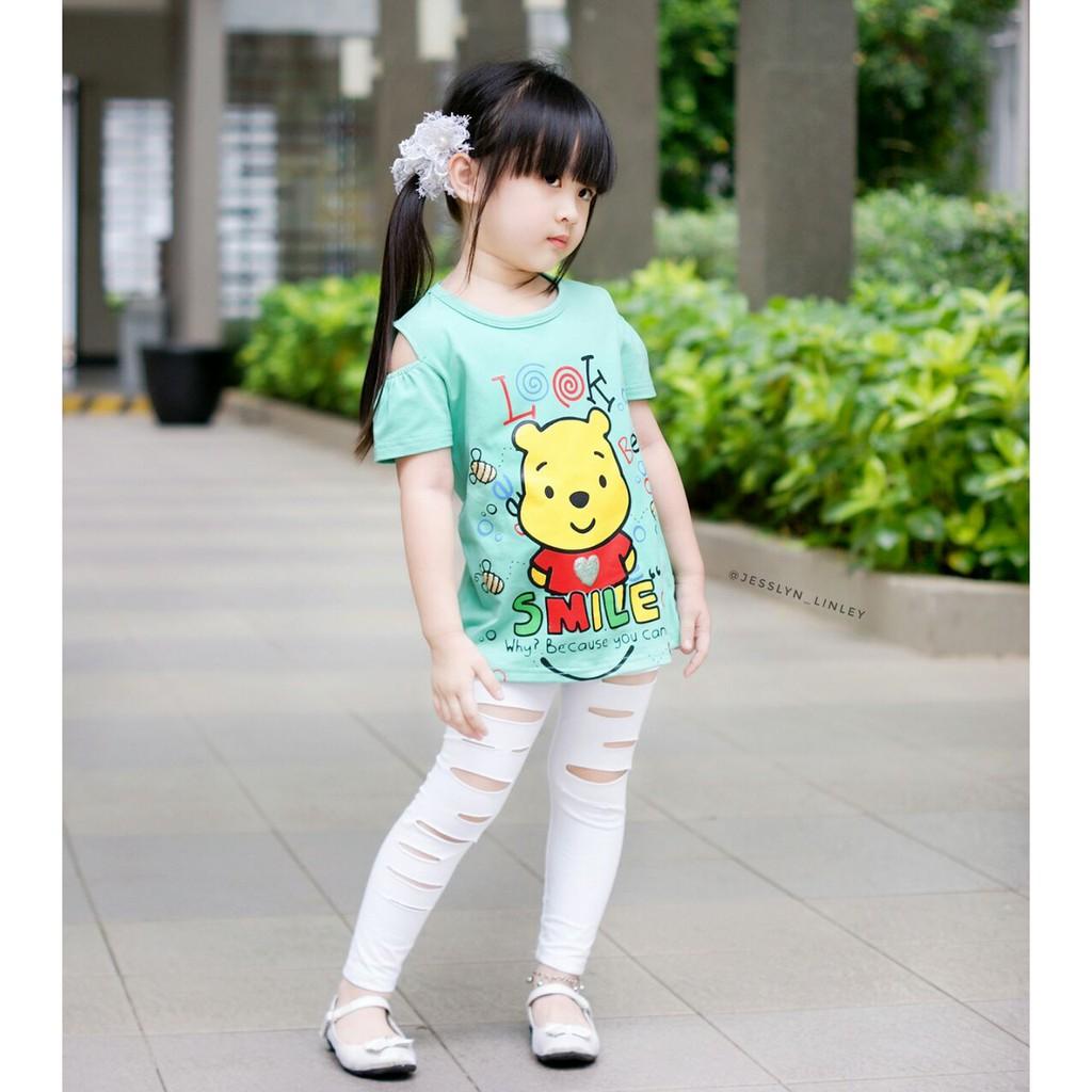 grosir kaos sabrina anak perempuan / atasan anak perempuan lucu / baju anak pooh 1-8 tahun | Shopee Indonesia