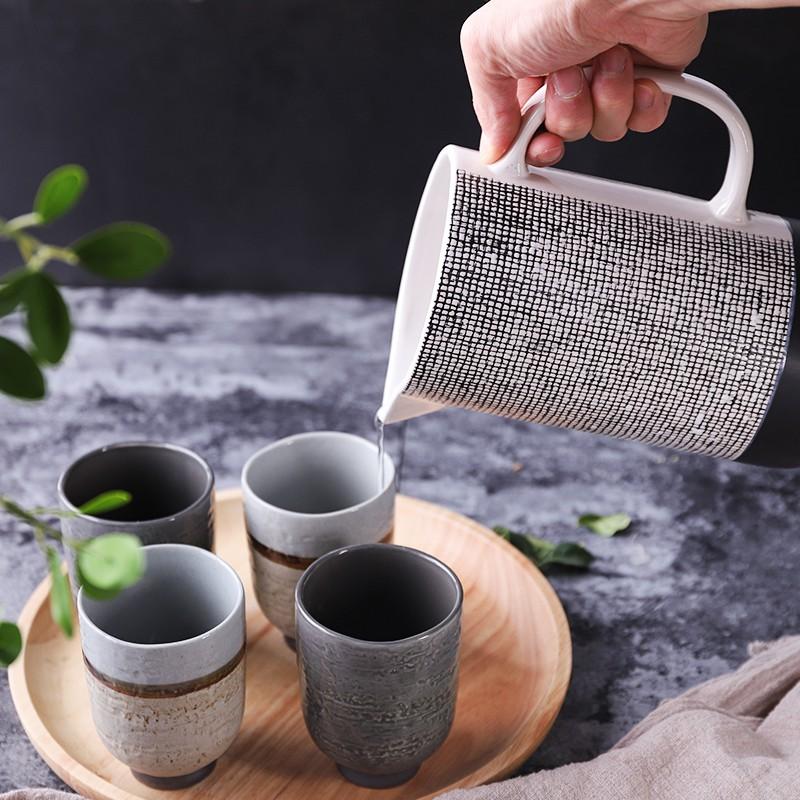 Cangkir Minum Desain Marmer Gaya Jepang Bahan Keramik Untuk Dapur