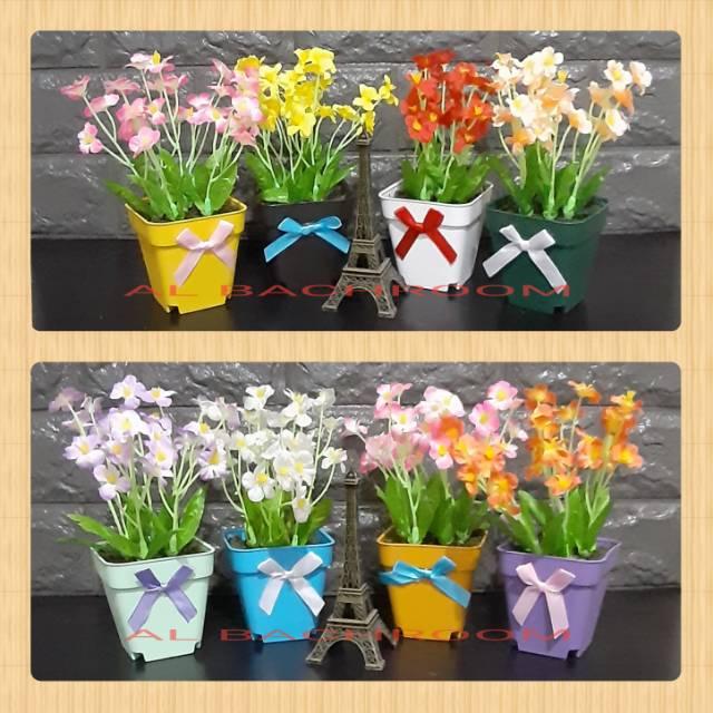 Buket Rangkaian Bunga Pot Kotak Pita Mini Star Artificial Shopee Indonesia