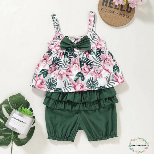 Toddler Kids Baby Girl Floral Outfits Clothes T-shirt Tops+Pants//Shorts 3PCS Set