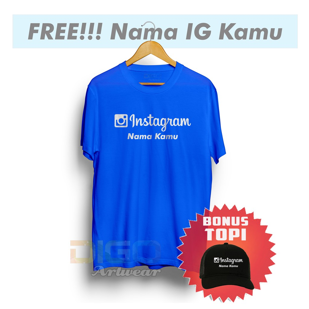 Kaos Instagram Custom Nama Bonus Topi Exclusif J T Jne Shopee Indonesia