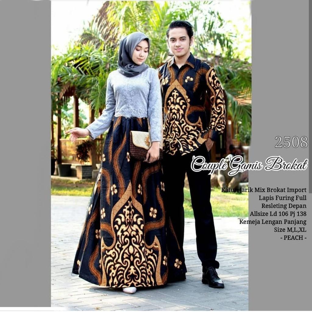 Couple Batik Kebaya Gamis Wanita Kain Brokat Cp Kebaya Brokat