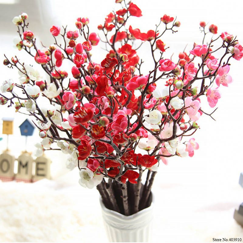 Guninco Bunga Sakura Tangkai Palsu Tanaman Artifisial Dekorasi Vas Cherry Blossom Bunga Plastik Shopee Indonesia