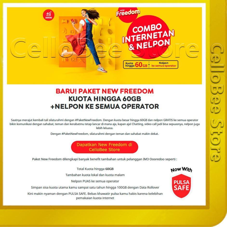 [H769]  Kartu Perdana Indosat IM3 New Freedom 4GB / 8GB / 14GB / 20GB / 30GB / 50GB CelloBee
