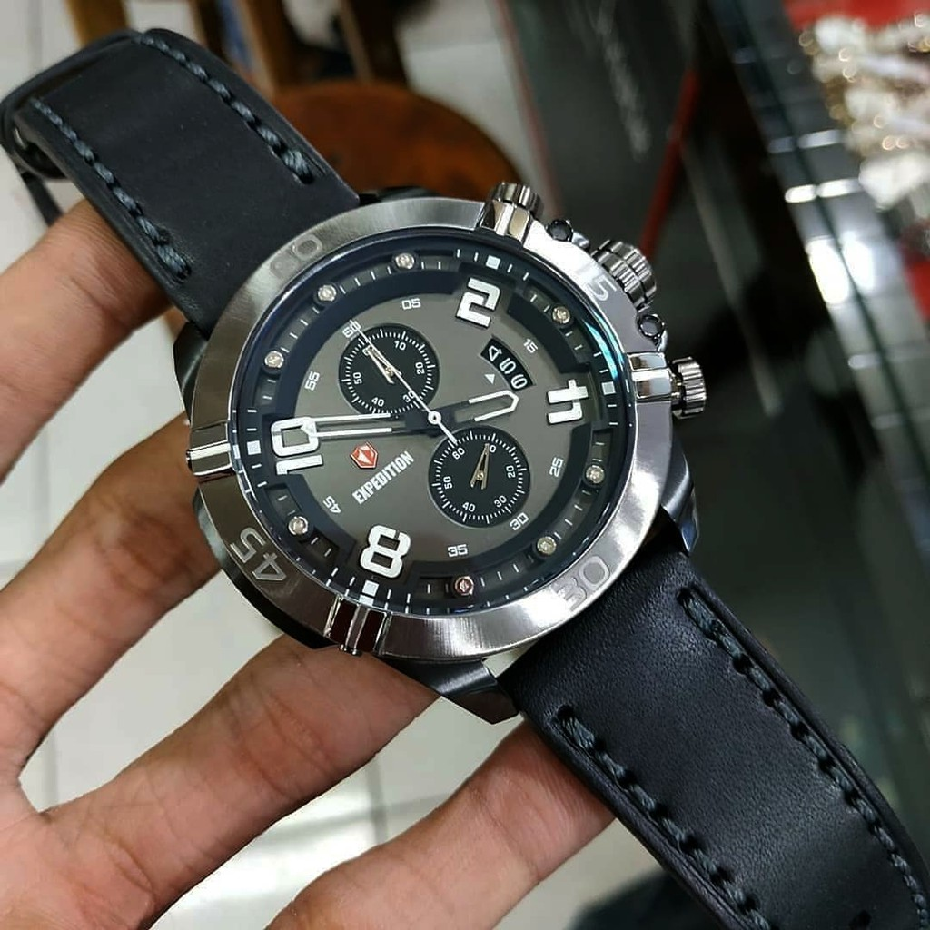 Expedition Pria E6755 Leather Black Original Garansi 2 Tahun Jam Tanga 6631 Hitam Triple Time Shopee Indonesia