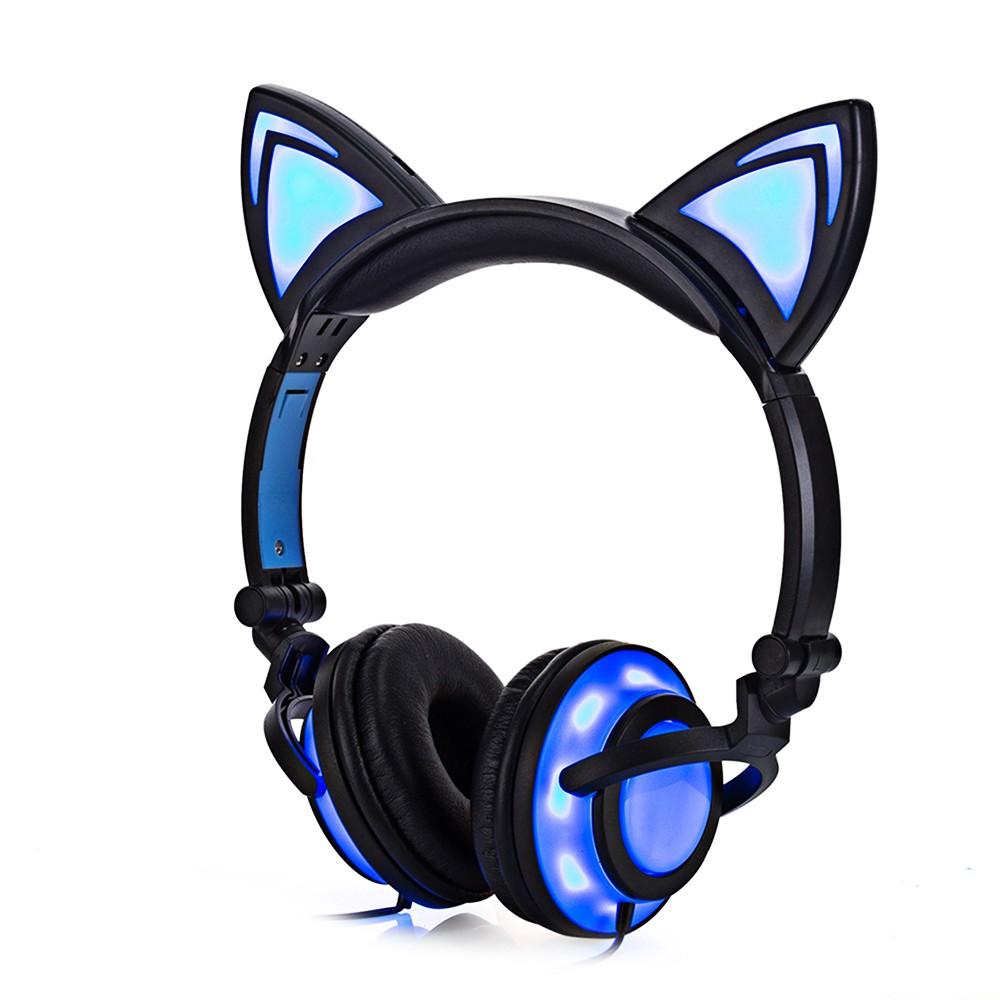Headset Gaming Lipat Desain Telinga Kucing Lucu dengan Lampu LED