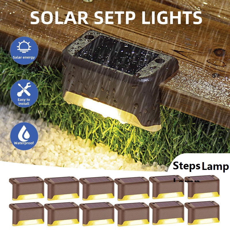 Solar Powered Led Waterproof Step Light Outdoor Garden Lighting Sunlight Power Saving Deck Pathway Stairs Fence Yard Path Landscape Lamp Decoration Shopee Indonesia