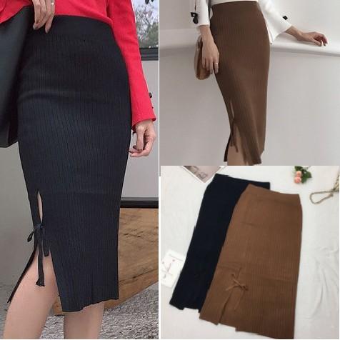 Celana Rok Mini Span Wanita Pocket Import ... Source · IMPORT Knit bow Slit