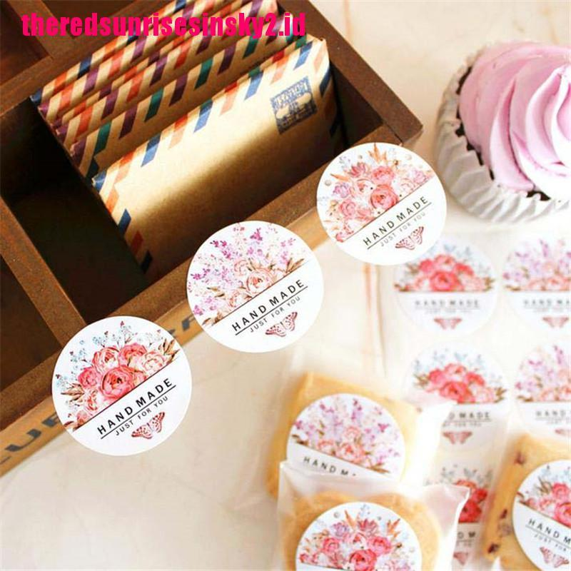 54pcs / Lot Stiker Label Makanan Motif Bunga Buatan Tangan Untuk Hadiah Pesta Pernikahan