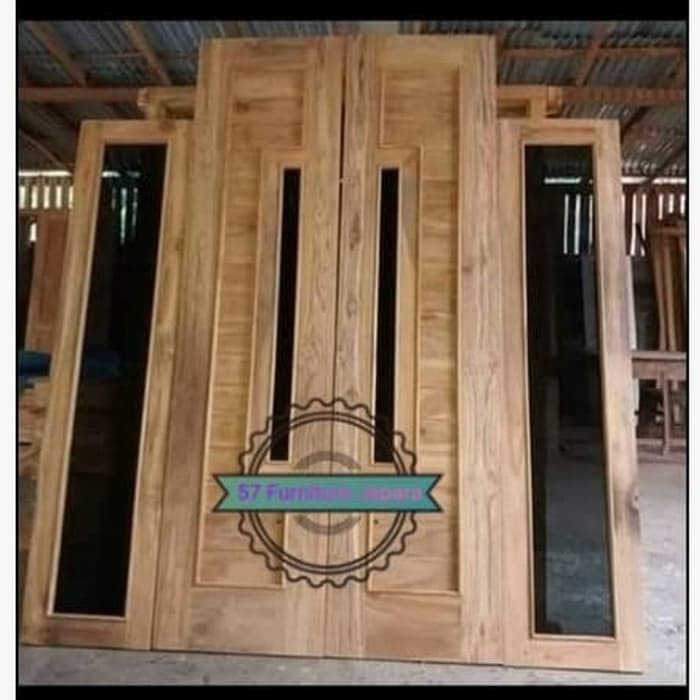 1 Set Pintu Rumah Kusen Jendela Kayu Jati Model Minimalis Shopee Indonesia