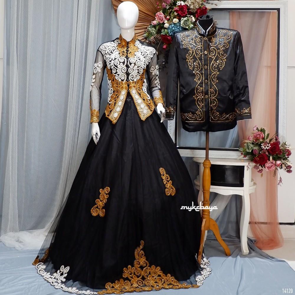 Couple gaun hitam gold modern murah terlaris limited editions Gaun  Pengantin modern