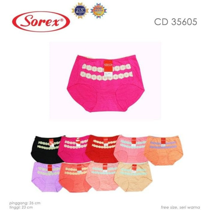 Sorex 35605 | Celana Dalam / CD Midi Cewek Aksen Renda | Shopee Indonesia
