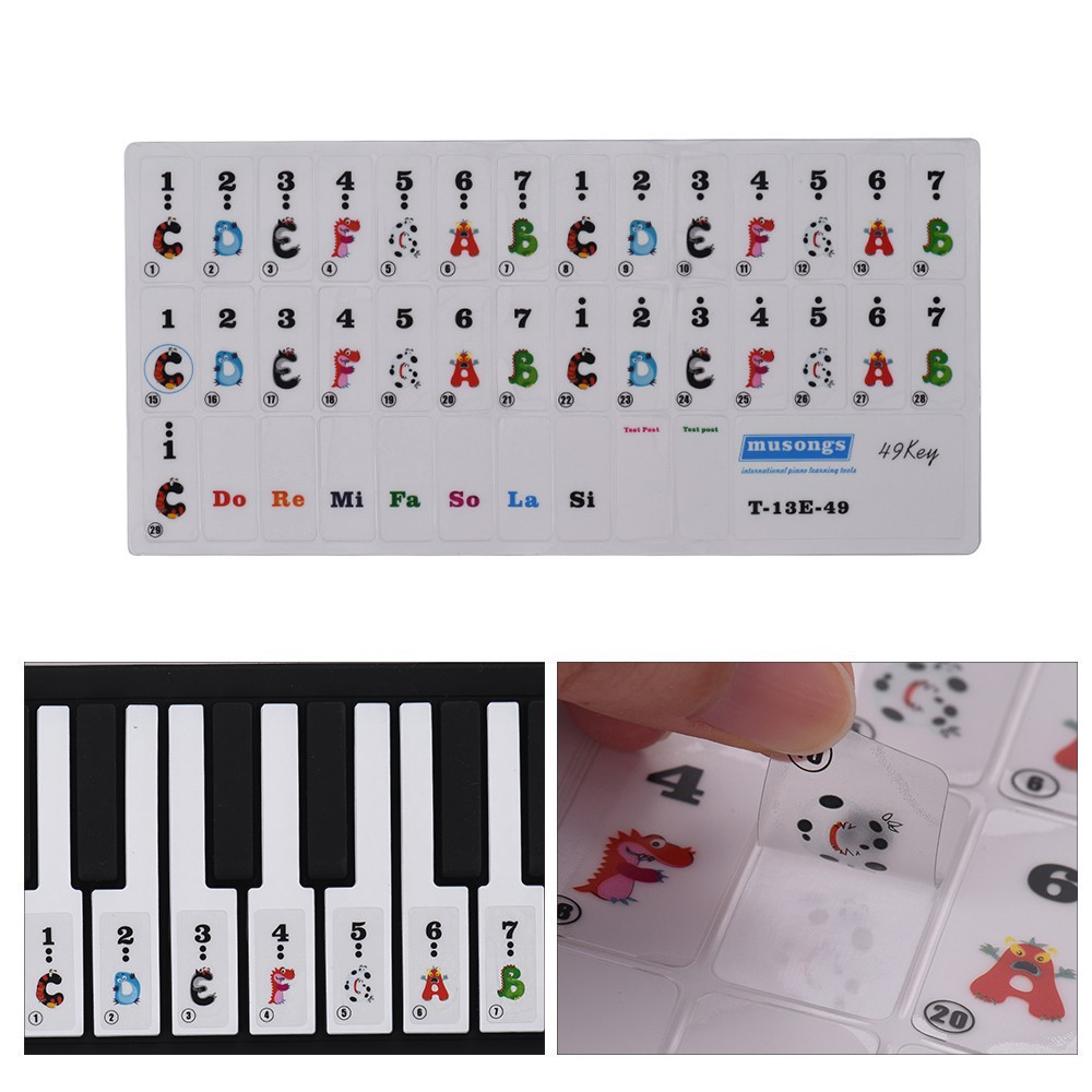Stiker Penanda Tuts Nada Kunci Piano Keyboard 49 Key Motif Kartun Multi Warna Transparan Shopee Indonesia