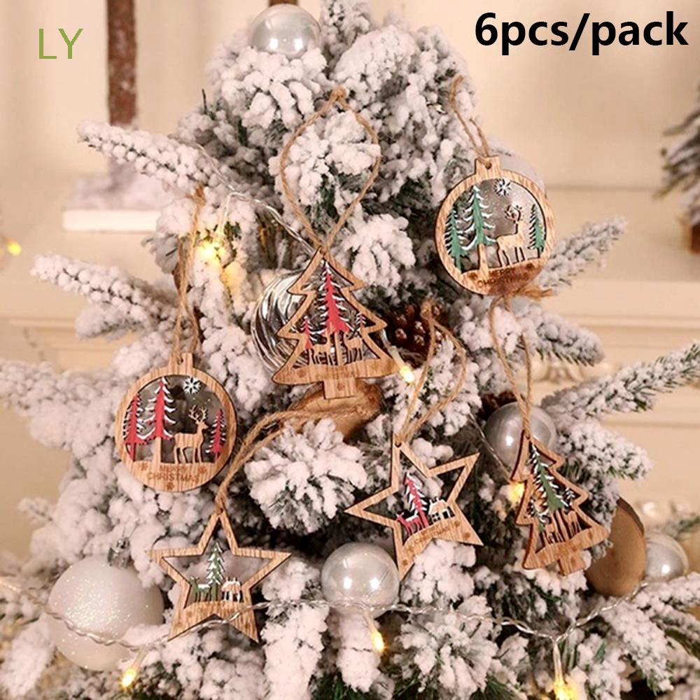 Ly 6pcs Party Supplies Home Decor Diy Gifts Wood Crafts Drop Pendant Star Tree Ball Pendants Shopee Indonesia