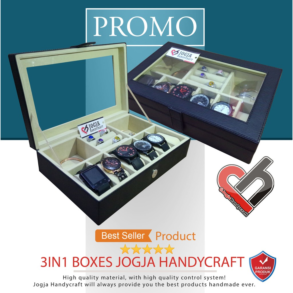 Kotak Jam Tangan isi 12 Hitam dalam Merah l Box Jam Tangan  b1edb52c2b