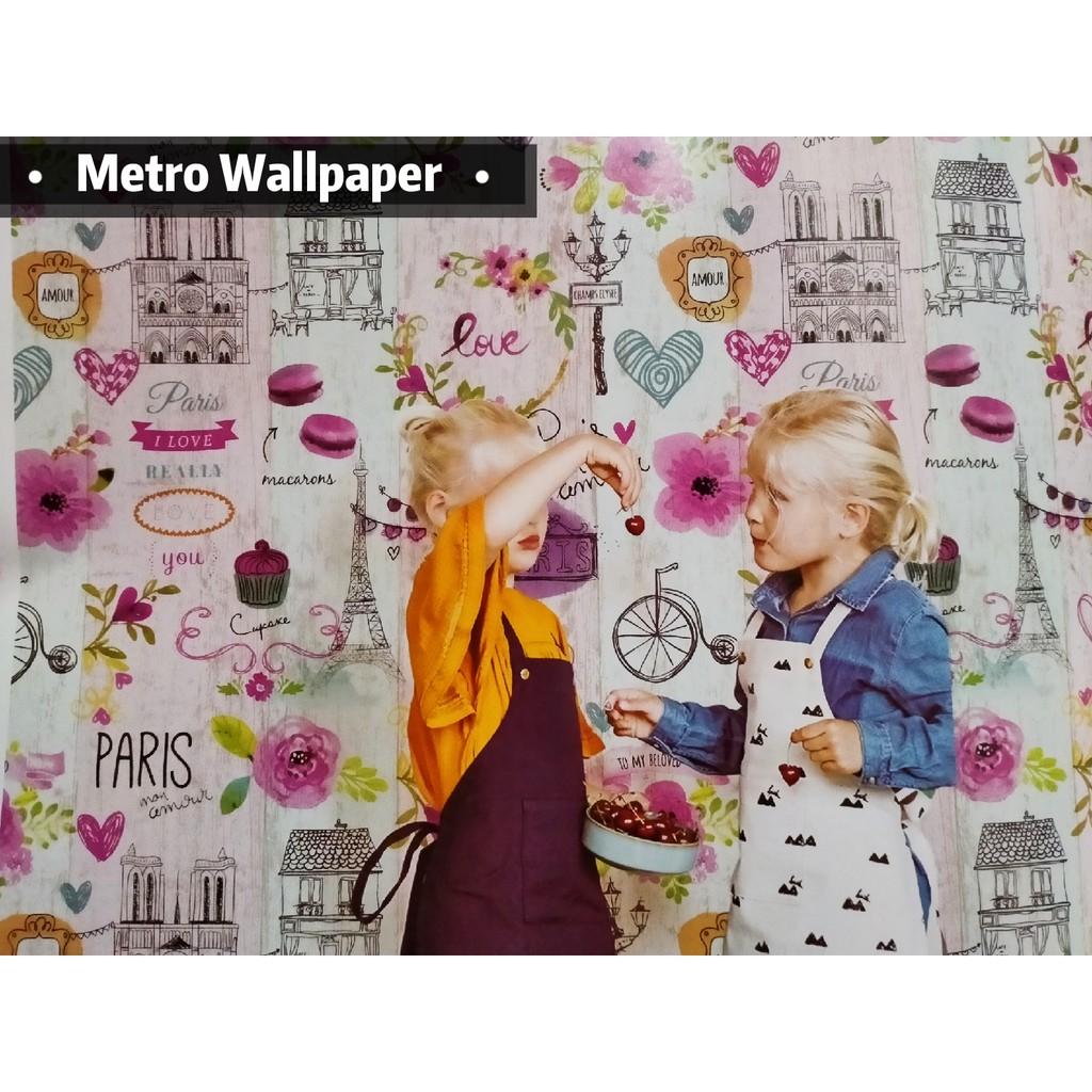 TERBARU Wallpaper Dinding Motif PARIS UK 0 53 X 10M ROLL