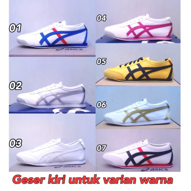 Asics Sepatu Wanita Pria Onitsuka Tiger MEXICO 66 Casual Sneakers Sepatu  Kulit  b65e7352fd