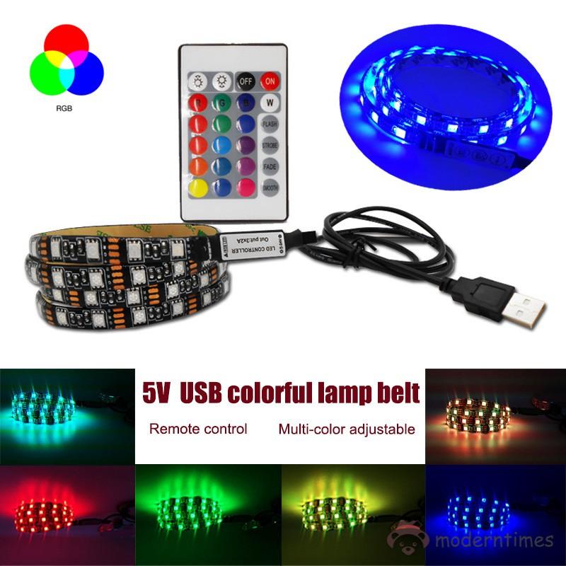 Lampu Strip LED RGB 5050 USB Multi Warna dengan Remote Control 24 Tombol Untuk Backlight TV | Shopee Indonesia