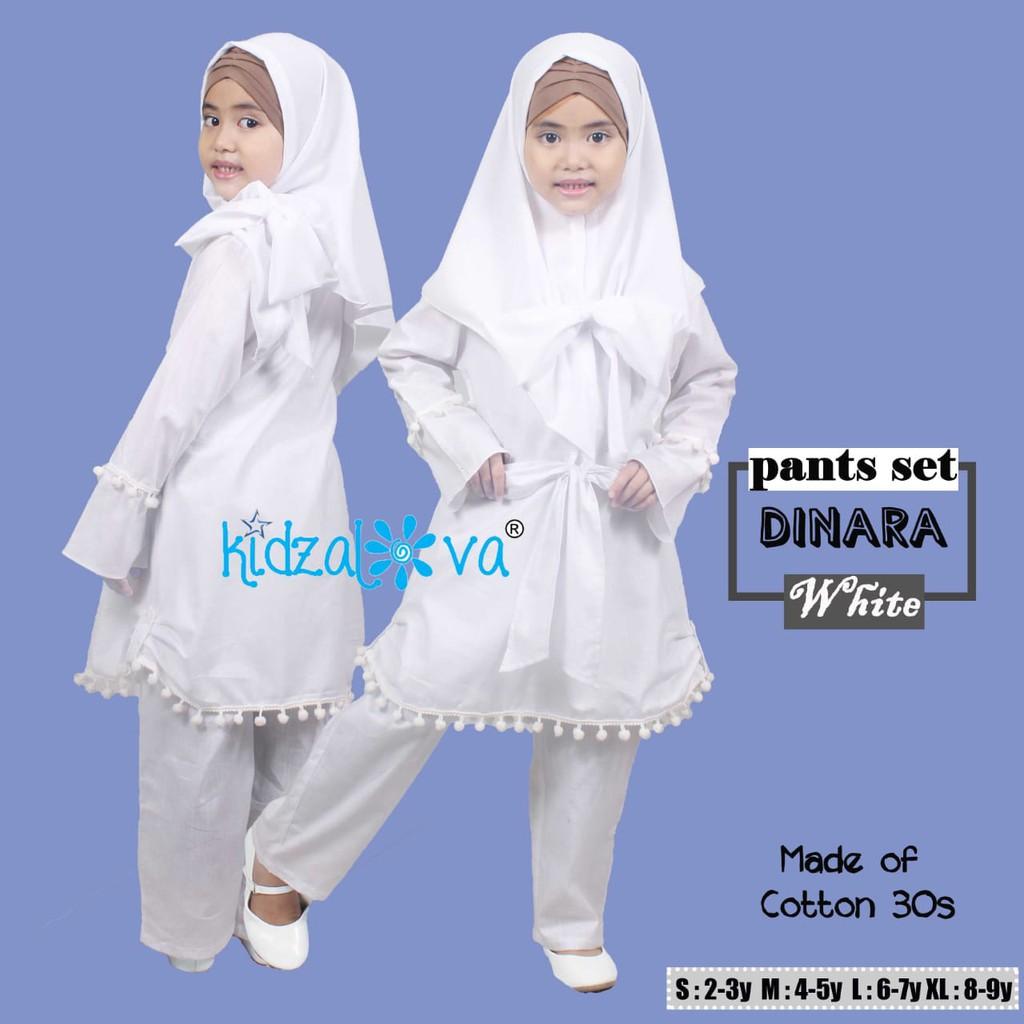 Setelan baju muslim anak perempuan warna putih set baju celana dan jilbab  katun polos original