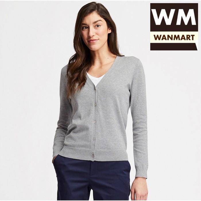 UNIQLO Women Cardigan Wanita UV Cut Supima Cotton V Neck Gray