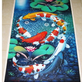 Lukisan Ikan Koi Fengshui Tanpa Bingkai Shopee Indonesia