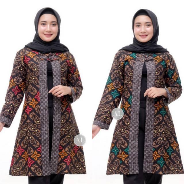 Baju batik atasan modern kekinian model terbaru tunik ...