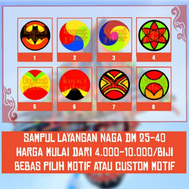 kain motif layangan naga/sampul kepingan DM 25-40