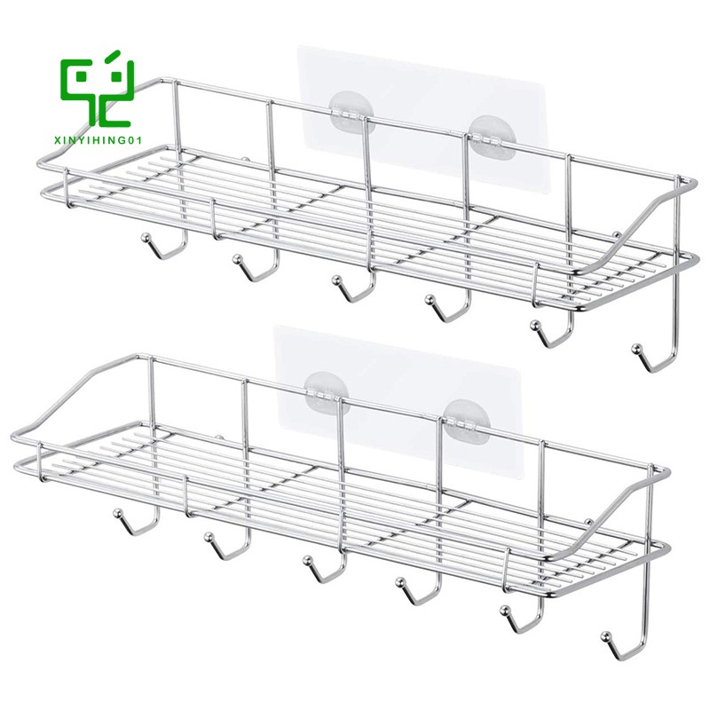 Shower Caddy Stainless Steel Wall Mounted Bathroom Shelf With 6 Hooks And Adhesive Storage Organizer For Toilet 2 Pack Shopee Indonesia